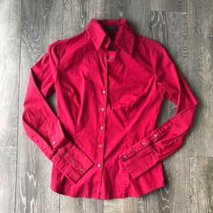 Express Design Studio Maroon Classic Fit Button Up